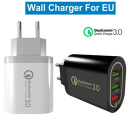 Usb aufladenipad online-3-Port USB QC3.0 Home Travel Quick Charging Charger US EU Plug AC Power Adapter Wall Charger Plug for iPhone Samsung Tablet iPad
