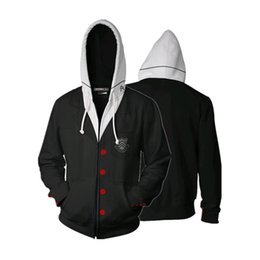cosplay hoodies zipped Promo Codes - Game Cosplay Persona 5 Man Tops Full Zip Hoodies Casual Cool Coat Jacket Fashion Sweatshirts Cosplay