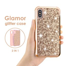 Canada Hybrid 2 en 1 Slim Coque de protection pour iphonex xr xs max étui bling glitter pour iphone 8 7 6 6 s cheap hybrid covers Offre