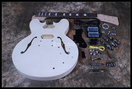 gitarren körper unvollendet Rabatt Starshine DIY E-Gitarre DK-DY11 Gitarrensatz Flamed Maple Top Semi Hollow body Unfinished Guitar