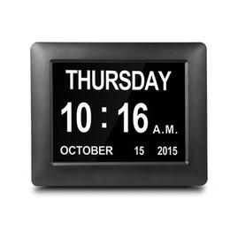 Levou relógio de parede digital casa on-line-7 polegada LED Calendário Eletrônico relógio Grande Calendário Digital de Parede Tempo Dia Da Semana do Ano Branco / Preto DC 5 V Decoração de Casa Relógio