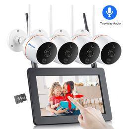 """Schermo del monitor cctv online-Techage 4CH 1080P Wireless 7 """"LCD Touch Screen Monitor NVR Camera Kit 2MP Audio bidirezionale Wifi Scheda SD Record Sistema di sicurezza CCTV"""