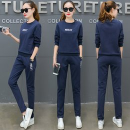 Las mujeres del twinset del suéter online-Leisure Time Suit Woman Fund Trend Sweater Trousers Twinset Comfortable Will Code Run Bodybuilding Athletic Wear