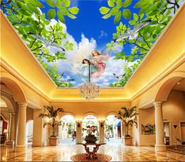 Argentina Murales de techo 3D papel tapiz foto personalizada mural no tejido Cielo azul y nubes blancas, hermoso techo de ángel, mural cenit cheap angels weaves Suministro