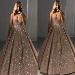 elie saab einfach Rabatt Vintage Sparkly Pailletten lange Abschlussball-Abend-Kleid 2020 Hülse V Ansatz Backless formale Partei-Kleid Sexy Festzug-Kleider