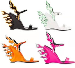 2019 sandálias de vestido de laranja Venda quente-Sexy Cunha designers mulheres chama gladiador sandálias vestido de casamento sandálias rosa orange branco chama senhoras sapatos de festa sandálias de verão desconto sandálias de vestido de laranja