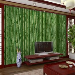 Fondos de pantalla de casas online-3D Bamboo Wallpaper Restaurant, House Hotel, Pasillo Pasillo, Fondo de TV Papeles de pared de estilo chino clásico Decoración del hogar