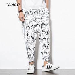 Männer sarouel hose schwarz online-Tsingyi Reflective Jogginghose Männer Cartoon-Charakter Schwarzweiss-Quadrat Männer Jogger Knöchellang Sarouel Homme beiläufige Hosen