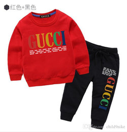2019 nova primavera designer de luxo menino t-shirt calças 2-7 idade terno crianças marca infantil 2 pcs conjuntos de roupas de algodão menino moda pano de Fornecedores de moda panos para crianças