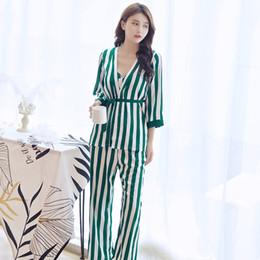 2019 maillots de sport de marque femmes robe personnes ensembles robe pantalon bande femelle de catégorie supérieure homewear ceinture condole quatre pièces de sommeil Lounge ensembles de robe de robe