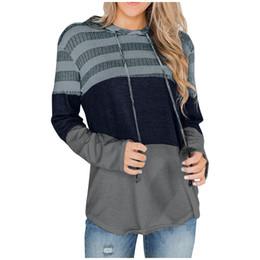 mujer de manga larga a rayas de color bloque de lazo encapuchado Top Girls con capucha de las señoras Jerseys suéteres con capucha Mujer desde fabricantes