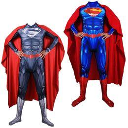 2019 Unisex 3D Muscle Superman Superhero Cosplay Lycar Spandex Zentai Body de alta calidad Party Cloak Catsuit Mono desde fabricantes