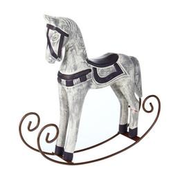 Cavalli per la decorazione online-Articoli da regalo moderne di stile cavallo di Troia Statua Wedding Decor cavallo di legno Retro decorazione domestica Accessori Rocking Horse Ornament