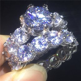 Conjunto de casamento vintage prata esterlina on-line-Amantes Do Vintage Anel set 3ct Diamante 925 anel de Noivado de prata esterlina banda de casamento para as mulheres homens Presente Da Jóia De Luxo