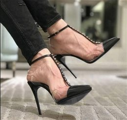open cloth party Promo Codes - Summer new pointed toe rivets buckle high heel stiletto heel leather sandals female