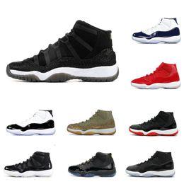 Venta de zapatos de baloncesto online-Con caja 11 XI Zapatillas de baloncesto para hombre a la venta Concord Bred Olive Lux Platino Tinte Space Jam UNC 2019 XI Designer Shoes Sport Sneakers 36-47