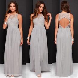 2019 New Hot Sale Elegant Light Grey Long Lace Chiffon Bridesmaid Dresses Open Back Wedding Party Dresses vestido de festa de casamento