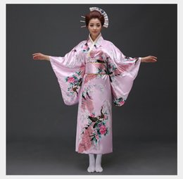 Сексуальный женский костюм женщин онлайн-Vintage Party Dress Women Sexy Satin Kimono Yukata With Obi Performance Dance Dress Japanese Cosplay Costume One Size