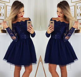 12e09c475 junior plus size club dress Promo Codes - Navy Blue Long Sleeves Homecoming  Dresses 2019 A