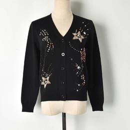 Остроконечный свитер онлайн-2019 spring new beaded nail drill sequin five-pointed star V-neck sweater cardigan ladies
