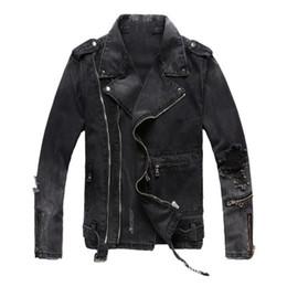 Mens Marken Art und dünne schwarze Jacken Revers Ansatz Denim Fest Reißverschluss Loch Männlich Hot Sell Coats