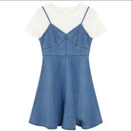 De uma peça plus size mais recente projeto elegante das mulheres dress elegante jean dress azul e branco design de Fornecedores de moda mais vestidos de tamanho