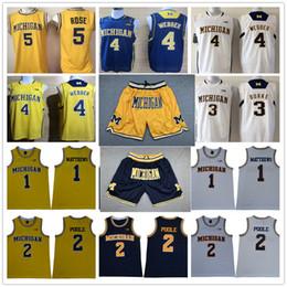 Corti camicia gialla online-Michigan Wolverines pantaloncini da basket maglie Imposta Charles Matthews Poole Chirs Webber Trey Burke Jalen Rose Giallo Blu universitari Camicie Tops
