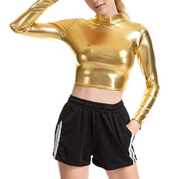 Camisetas de cuero de las mujeres online-Señoras de las mujeres líquido metálico de aspecto mojado de piel de la cosecha de manga larga superior Medio Cuello remata la camiseta para el partido del delirio Club Dance Streetwear