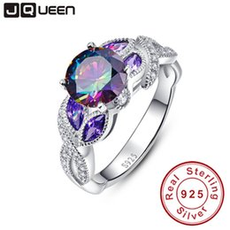 a1fd4c03d1 Mystical Rainbow Topaz 925 Sterling Silver Rings Sapphire Engagement Rings  With Clear Cz For Women Female Original Fine Jewelry J 190430
