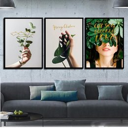 2019 pinturas de arte meninas bonitas Abstrata Da Lona Planta Verde Menina Bonita Nordic Art Print HD Poster Pinturas Imagem Do Retrato Do Vintage Sala de estar Decoração de Casa pinturas de arte meninas bonitas barato