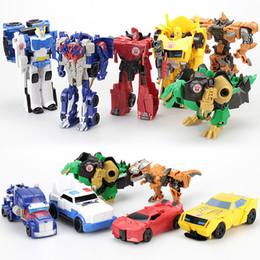 qualidade de brinquedos de fazenda animal Desconto Transformado brinquedo diamante guerreiro um passo transformou optimus / bumblebee / deriva / dinossauro terminator soldado crianças