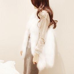 2019 giacca pelosa faux Kenancy Elegante Faux Fur Coat Fluffy Warm senza maniche Capispalla Chic Winter Coat Jacket Lungo Hairy Fashion Women Gilet giacca pelosa faux economici