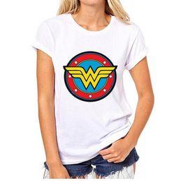 camisa super herói feminino Desconto Verão de Algodão de Alta Qualidade Mulheres T-shirt Anime Mulher Maravilha Camiseta Superhero Tee Femme Impresso Harajuku mulheres Tshirt
