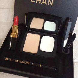 Canada Nouvelle arrivée marque maquillage ensemble pleine taille poudre de fondition + mascara + lipsticl + crayon pour les yeux crayon ensemble mélangé livraison gratuite 1set / lot Offre