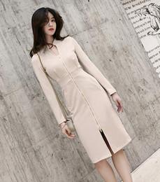 Coreano vestido de zíper bodycon on-line-2019 versão coreana da primavera nova moda feminina zipper slim vestido de mangas compridas