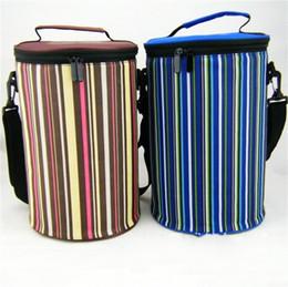Grandes sacos isolados on-line-Rodada Espessamento Pacote de Gelo Refrigeradores com Isolamento Térmico Saco Grande Tamanho Bento Lunch Bags Franjas Verticais Impressão Bolsa Design Quente 12kwH1