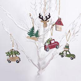 2019 decorazioni natalizie di babbo natale 3PCS / LOT di Natale pendenti di legno, addobbi natalizi Decorazioni dell'albero di Natale fai da te Artigianato del legno Tag regalo dei capretti