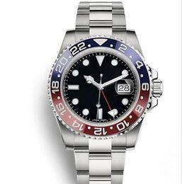 Gmt uhrwerks online-New Master GMT Keramik Lünette Mens Mechanische Edelstahl Automatik Uhrendesigner Sport Selbstwind Uhren leuchtende Armbanduhr