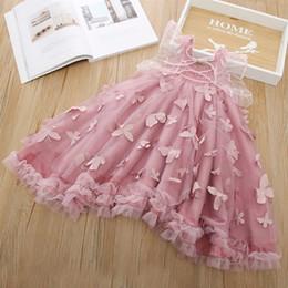 Vestidos de borboleta crianças on-line-2019 meninas de verão vestidos de crianças estéreo borboleta applique vestido de princesa meninas lace gaze bordado asas de borboleta vestidos de festa F7345