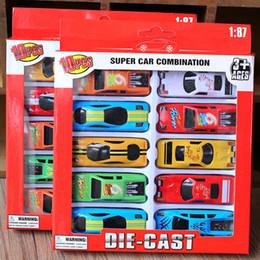 Auto da corsa per i bambini online-Nuovi gioca auto 10pcs / lega del lotto Pull tornare a correre Giocattoli per bambini Auto modelli di auto giocattolo in lega indietro Auto Box Package scooter giocattoli