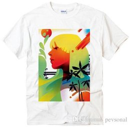 Sommer Stil Mode Blumenmädchen Design GRAFIK Geschenk Foto Idee cool Männer weiß T-Shirt Kurzarm Rundhalsausschnitt Mode von Fabrikanten