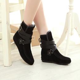2019 91 scarpe zapatos mujer Tacon 2018 cinghia di modo delle donne aumentare incunea caviglia Stivaletti Scarpe Botas mujer invierno punta rotonda Casual Shoes # 91