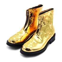 Botas de invierno para hombre cremalleras online-Invierno Nuevo Caliente Bordado en Oro T Show Zipper Boots High top Rome Style Mens Zipper Boots Shoes