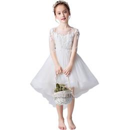 Büyük Kızlar Prenses Elbise Beyaz Gelinlik Hollow Geri Yay Askı Fermuar Katı Mesh Dantel Kızlar Performans Firar Elbise nereden