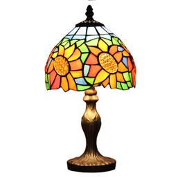 Lampes à tournesol en Ligne-8 pouces Tiffany Style Tournesol Mini Lampe De Table Vitrail Lampe De Table Cadeaux Créatifs