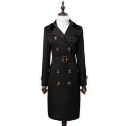 Англия двубортный пальто для женщин с длинными рукавами пальто Женские casaco feminino пальто женщина весна осень черный 3XL от
