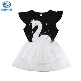 2020 vestido menina cisne 2018 novo garoto menina swan tutu dress verão bebê menina sem mangas romper dress roupas chidlren tulle outfits vestido menina cisne barato