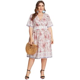 plus size women bohemia dresses Promo Codes - Bohemia Womens clothing Plus size Lace patchwork Women Dresses V neck Short sleeve Summer XL 2XL 3XL 4XL Wholesale Hot selling