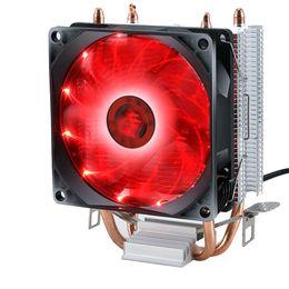 Computer-wärmeleitungen online-Silent Desktop Computer Professionelle Aluminium Doppel Heat Pipe Bunte Licht Kühlkörper Kühlerlüfter Universal-CPU-Kühler