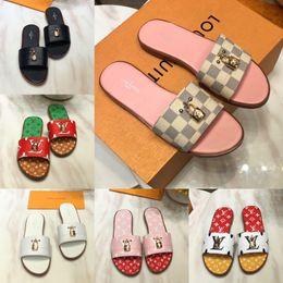 2019 sperrschuhe Lock it Flat Mule Mode Luxus Designer Frauen Sandalen Schuhe Hohe Qualität Sommer Monogramm leinwand Leder Slipper Frauen Designer Sandalen günstig sperrschuhe